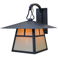Arroyo Craftsman CB-15HAM-BK Carmel 1 Light 19 inch Satin Black Outdoor Wall Mount in Almond Mica thumb
