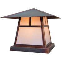 Arroyo Craftsman CC-12TWO-RC Carmel 1 Light 10 inch Raw Copper Column Mount in White Opalescent