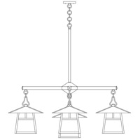Arroyo Craftsman CCH-12/4-1TAM-BK Carmel 5 Light 42 inch Satin Black Dining Chandelier Ceiling Light in Almond Mica, T-Bar Overlay, T-Bar Overlay