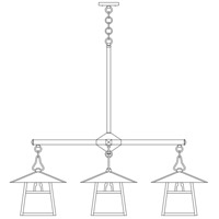 Arroyo Craftsman CCH-12/4EAM-BK Carmel 4 Light 42 inch Satin Black Dining Chandelier Ceiling Light in Almond Mica photo thumbnail