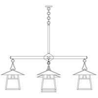 Arroyo Craftsman CCH-15/4-1DOF-BK Carmel 5 Light 61 inch Satin Black Foyer Chandelier Ceiling Light in Off White, Dart Overlay, Dart Overlay thumb