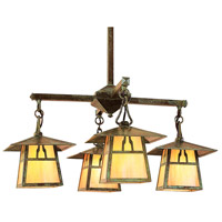 Arroyo Craftsman CCH-8/4BGW-VP Carmel 4 Light 27 inch Verdigris Patina Chandelier Ceiling Light in Gold White Iridescent