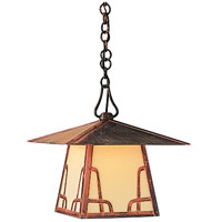 Arroyo Craftsman CH-12TM-VP Carmel 1 Light 12 inch Verdigris Patina Pendant Ceiling Light in Amber Mica thumb