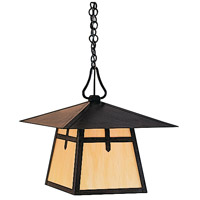 Arroyo Craftsman CH-15BGW-MB Carmel 1 Light 15 inch Mission Brown Pendant Ceiling Light in Gold White Iridescent thumb