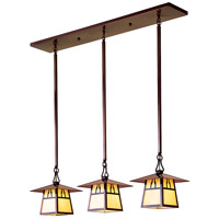 Arroyo Craftsman CICH-8/3HRM-BK Carmel 3 Light 36 inch Satin Black In-Line Chandelier Ceiling Light in Rain Mist, Hillcrest Overlay, Hillcrest Overlay thumb