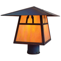 Arroyo Craftsman CP-12BGW-RC Carmel 1 Light 9 inch Raw Copper Post Mount in Gold White Iridescent