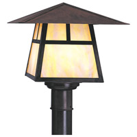 Arroyo Craftsman CP-15TGW-BZ Carmel 1 Light 11 inch Bronze Post Mount in Gold White Iridescent