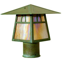 Arroyo Craftsman CP-8BGW-AC Carmel 1 Light 7 inch Antique Copper Post Mount in Gold White Iridescent photo thumbnail
