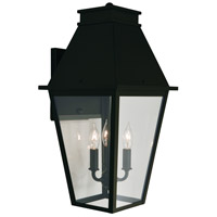 Arroyo Craftsman CRB-10CLR-BK Croydon 3 Light 21 inch Satin Black Outdoor Wall Mount in Clear