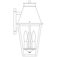 Arroyo Craftsman CRB-8RM-AC Croydon 3 Light 16 inch Antique Copper Outdoor Wall Mount in Rain Mist