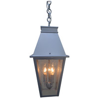 Arroyo Craftsman CRH-8CS-P Croydon 3 Light 8 inch Pewter Pendant Ceiling Light in Clear Seedy