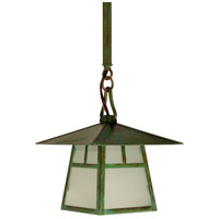Arroyo Craftsman CSH-8TF-VP Carmel 1 Light 8 inch Verdigris Patina Pendant Ceiling Light in Frosted