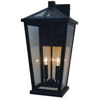 Arroyo Craftsman DEB-10CLR-BK Devonshire 2 Light 21 inch Satin Black Outdoor Wall Lantern
