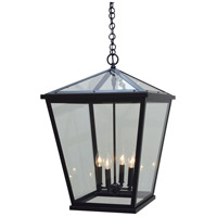 Arroyo Craftsman DEH-17CLR-BK Devonshire 4 Light 17 inch Satin Black Outdoor Pendant