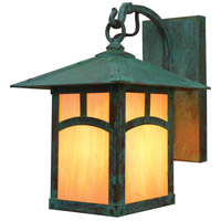 Arroyo Craftsman EB-7AGW-VP Evergreen 1 Light 11 inch Verdigris Patina Outdoor Wall Mount in Gold White Iridescent