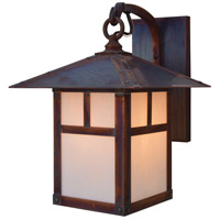 Arroyo Craftsman EB-9TWO-RC Evergreen 1 Light 13 inch Raw Copper Outdoor Wall Mount in White Opalescent
