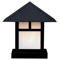 Arroyo Craftsman EC-12TWO-BK Evergreen 1 Light 13 inch Satin Black Column Mount in White Opalescent