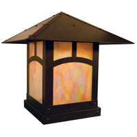 Arroyo Craftsman EC-16AGW-BZ Evergreen 1 Light 16 inch Bronze Column Mount in Gold White Iridescent