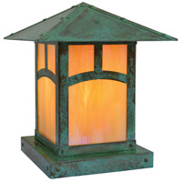 Arroyo Craftsman EC-9AGW-VP Evergreen 1 Light 11 inch Verdigris Patina Column Mount in Gold White Iridescent