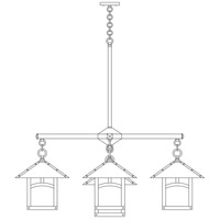 Arroyo Craftsman ECH-12/4-1SFGW-BK Evergreen 5 Light 42 inch Satin Black Foyer Chandelier Ceiling Light in Gold White Iridescent, Sycamore Filigree, Sycamore Filigree photo thumbnail