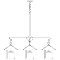 Arroyo Craftsman ECH-12/4SFWO-BK Evergreen 4 Light 42 inch Satin Black Foyer Chandelier Ceiling Light in White Opalescent, Sycamore Filigree, Sycamore Filigree photo thumbnail