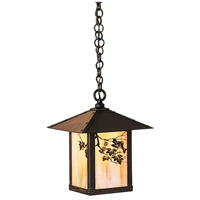 Arroyo Craftsman EH-9SFGW-BZ Evergreen 1 Light 9 inch Bronze Pendant Ceiling Light in Gold White Iridescent