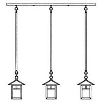 Arroyo Craftsman EICH-7/3TCS-BK Evergreen 3 Light 36 inch Satin Black In-Line Chandelier Ceiling Light in Clear Seedy, T-Bar Overlay, T-Bar Overlay photo thumbnail