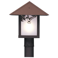 Arroyo Craftsman EP-12HFF-RB Evergreen 1 Light 12 inch Rustic Brown Post Mount in Frosted