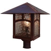 Arroyo Craftsman EP-16PFGW-AB Evergreen 1 Light 15 inch Antique Brass Post Mount in Gold White Iridescent photo thumbnail