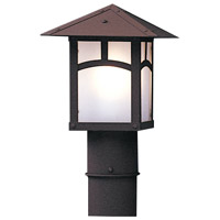 Arroyo Craftsman EP-7PFM-BK Evergreen 1 Light 8 inch Satin Black Post Mount in Amber Mica photo thumbnail