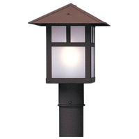Arroyo Craftsman EP-9PFWO-RB Evergreen 1 Light 10 inch Rustic Brown Post Mount in White Opalescent photo thumbnail