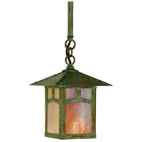 Arroyo Craftsman ESH-7AGW-VP Evergreen 1 Light 7 inch Verdigris Patina Pendant Ceiling Light in Gold White Iridescent