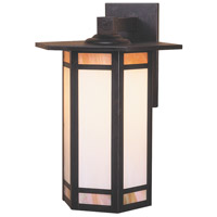 Etoile 1 Light 15 inch Bronze Outdoor Wall Mount in Gold White Iridescent and White Opalescent Combination