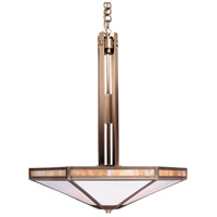 Etoile 4 Light 21 inch Antique Brass Pendant Ceiling Light in Gold White Iridescent and White Opalescent Combination