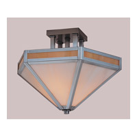Arroyo Craftsman ETCM-14-P Etoile 2 Light 14 inch Pewter Semi-Flush Mount Ceiling Light in Gold White Iridescent and White Opalescent Combination