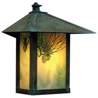 Arroyo Craftsman EW-16PFGW-VP Evergreen 1 Light 17 inch Verdigris Patina Outdoor Wall Mount in Gold White Iridescent