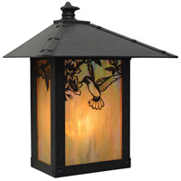 Arroyo Craftsman EW-9HFGW-BK Evergreen 1 Light 11 inch Satin Black Outdoor Wall Mount in Gold White Iridescent photo thumbnail