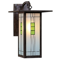 Arroyo Craftsman FB-9LG-MB Franklin 1 Light 9 inch Mission Brown Wall Mount Wall Light in Green and Black Silk Screen