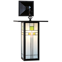 Arroyo Craftsman FB-9LSAC-BK Franklin 1 Light 9 inch Satin Black Wall Mount Wall Light in Yellow and Green Silk Screen
