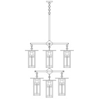 Arroyo Craftsman FCH-9L/4/4-1C-BK Franklin 9 Light 33 inch Satin Black Foyer Chandelier Ceiling Light in Yellow and Green Silk Screen photo thumbnail