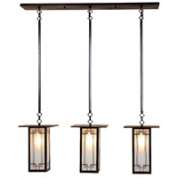 Arroyo Craftsman FICH-9L/3Y-BZ Franklin 3 Light 37 inch Bronze Pendant Ceiling Light in Yellow and Black Silk Screen