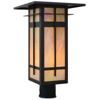 Arroyo Craftsman FIP-10LGW-BZ Finsbury 1 Light 15 inch Bronze Post Mount in Gold White Iridescent