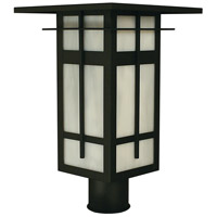 Arroyo Craftsman FIP-10WO-BK Finsbury 1 Light 12 inch Satin Black Post Mount in White Opalescent