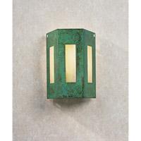 Arroyo Craftsman FS-3/3GW-VP Franklin 1 Light 8 inch Verdigris Patina Wall Mount Wall Light in Gold White Iridescent