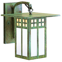 Arroyo Craftsman GB-6GWC-VP Glasgow 1 Light 8 inch Verdigris Patina Outdoor Wall Mount in Gold White Iridescent and White Opalescent Combination