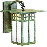 Arroyo Craftsman GB-9GWC-VP Glasgow 1 Light 9 inch Verdigris Patina Wall Mount Wall Light in Gold White Iridescent and White Opalescent Combination