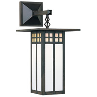 Arroyo Craftsman GB-9LSAGWC-BZ Glasgow 1 Light 19 inch Bronze Outdoor Wall Mount in Gold White Iridescent and White Opalescent Combination