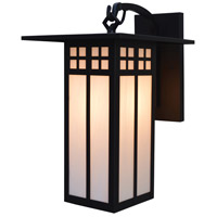 Arroyo Craftsman GB-9LWO-BK Glasgow 1 Light 15 inch Satin Black Outdoor Wall Mount in White Opalescent