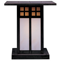 Arroyo Craftsman GC-18GWC-MB Glasgow 1 Light 20 inch Mission Brown Column Mount in Gold White Iridescent and White Opalescent Combination