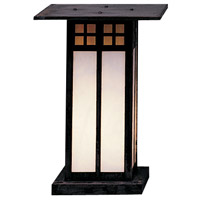 Glasgow 1 Light 13 inch Mission Brown Column Mount in Gold White Iridescent and White Opalescent Combination